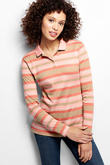 Women's Striped Long Sleeve Pima Polo Classic Fit