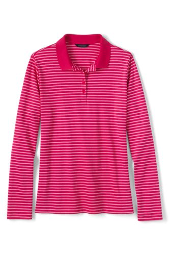 Women's Regular Striped Long Sleeve Pima Polo Classic Fit