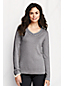 Lurex-V-Pullover mit Zopfmuster-Blende für Damen