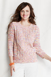 Women's 3/4-sleeve Drifter Marl Cable Crew Sweater