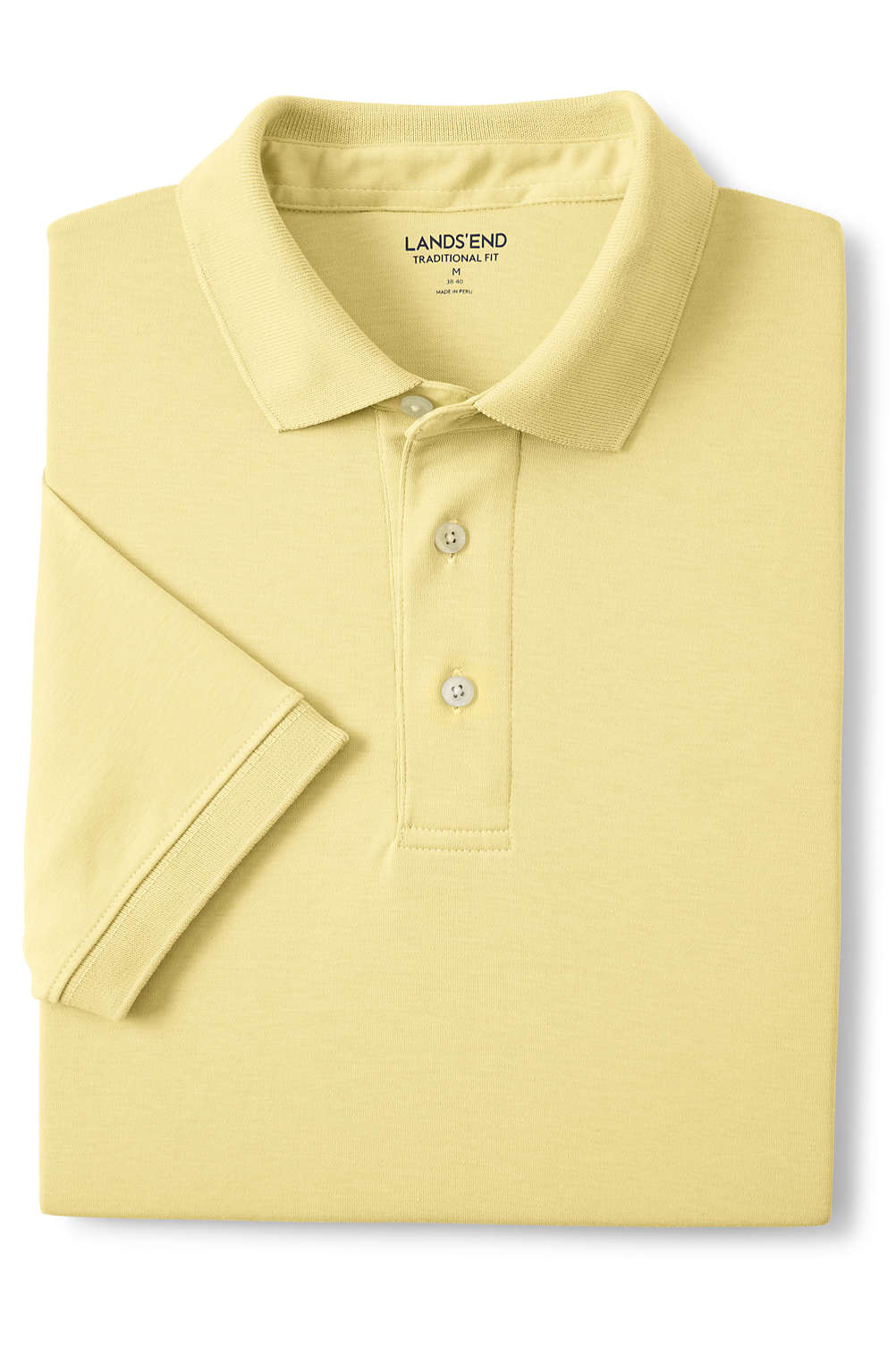 Mens Supima Short Sleeve Banded Bottom Polo Shirt From Lands End