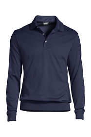 Men's Long Sleeve Super Soft Supima Banded Bottom Polo Shirt