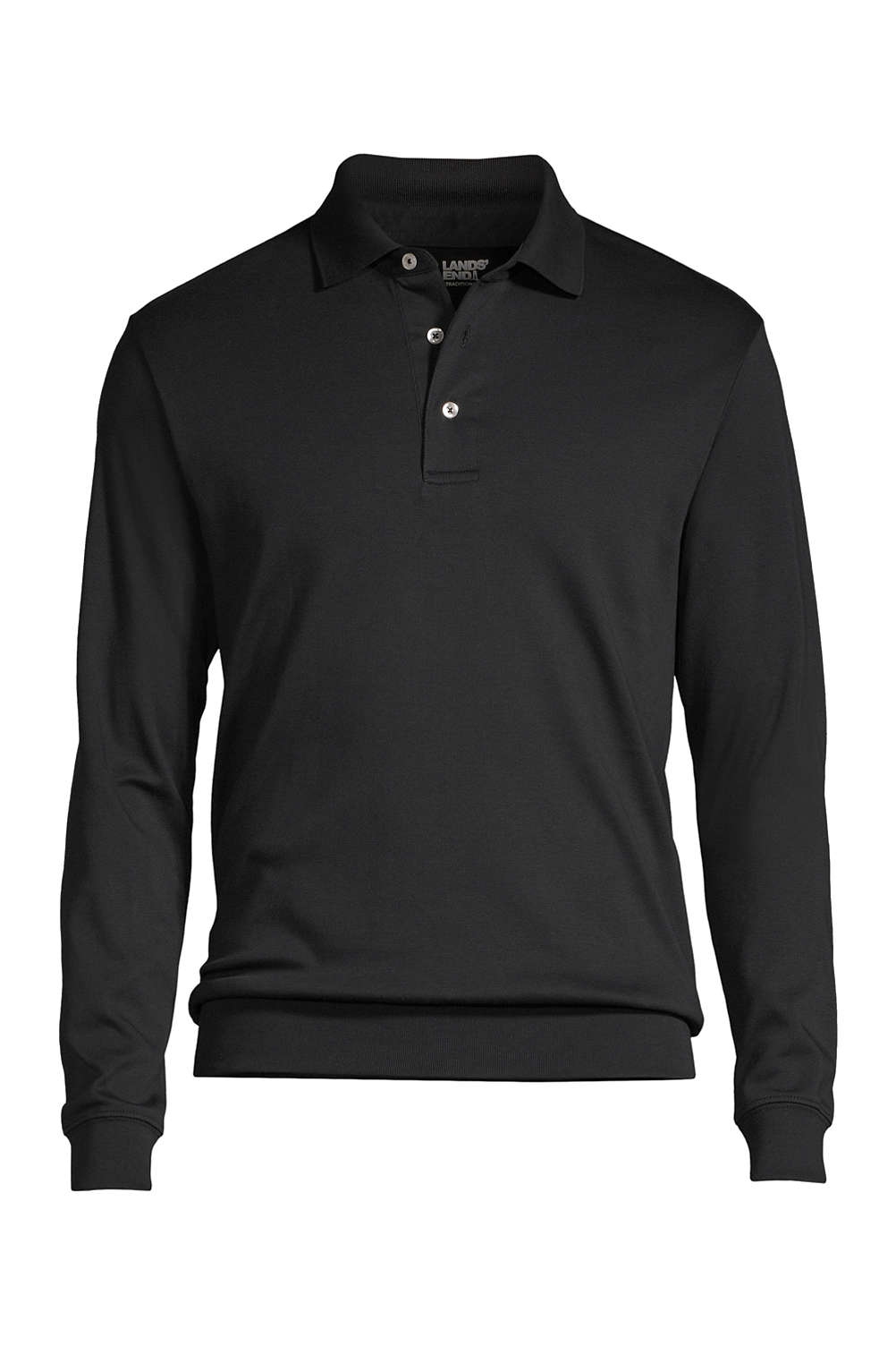 Mens Supima Long Sleeve Banded Bottom Polo Shirt From Lands End