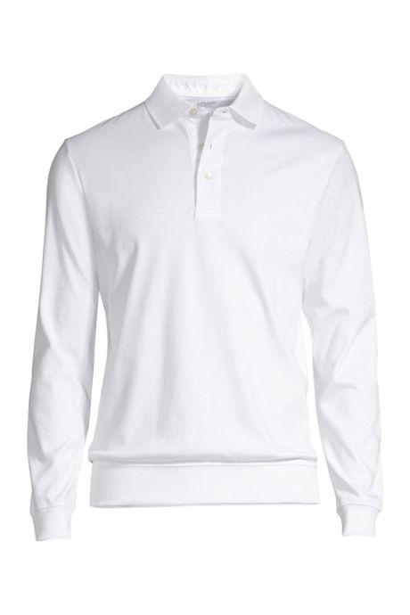 Men's Long Sleeve Super Soft Supima Banded Bottom Polo Shirt