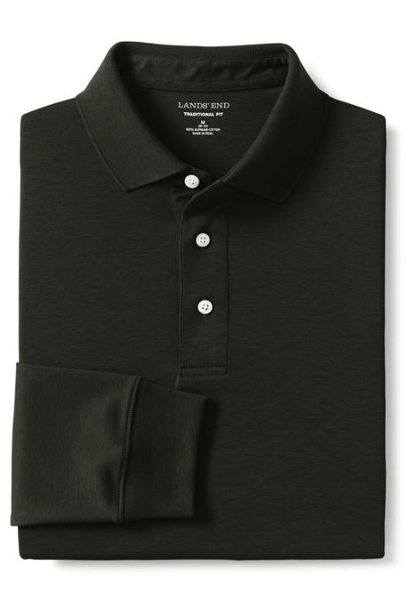 Men's Supima Long Sleeve Banded Bottom Polo Shirt