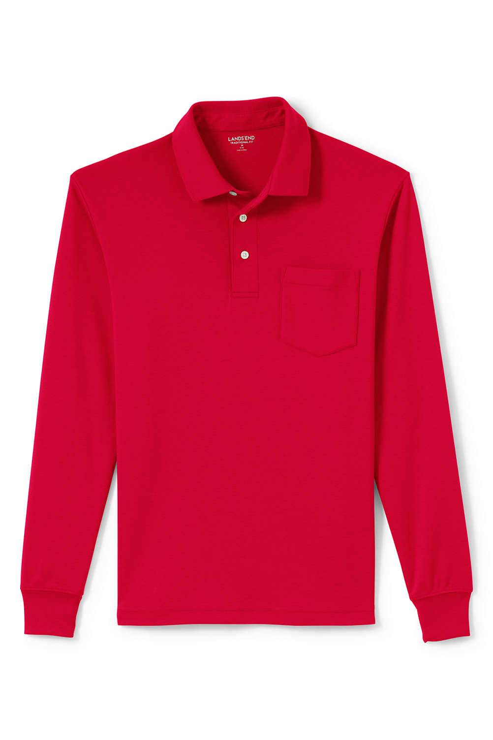 07e70f6a9ca Men's Supima Long Sleeve Polo Shirt with Pocket from Lands' End