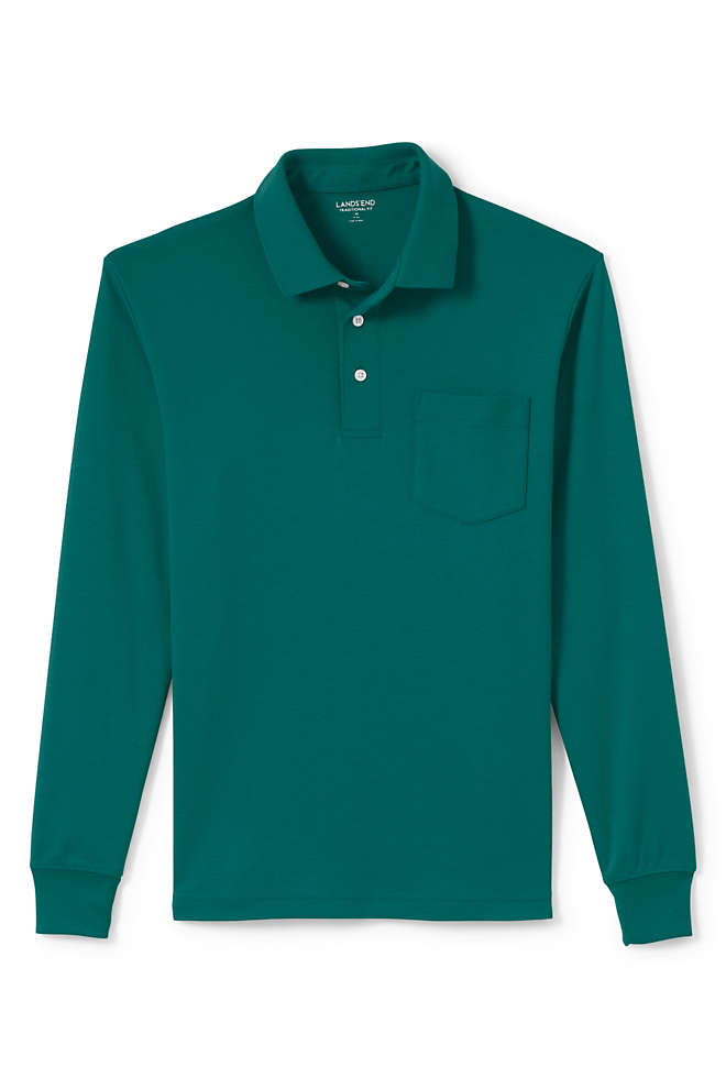 Men's Long Sleeve Super Soft Supima Polo Shirt with Pocket, Front