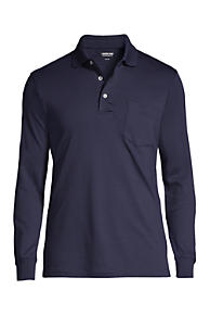Men's Long Sleeve Super Soft Supima Polo Shirt with Pocket