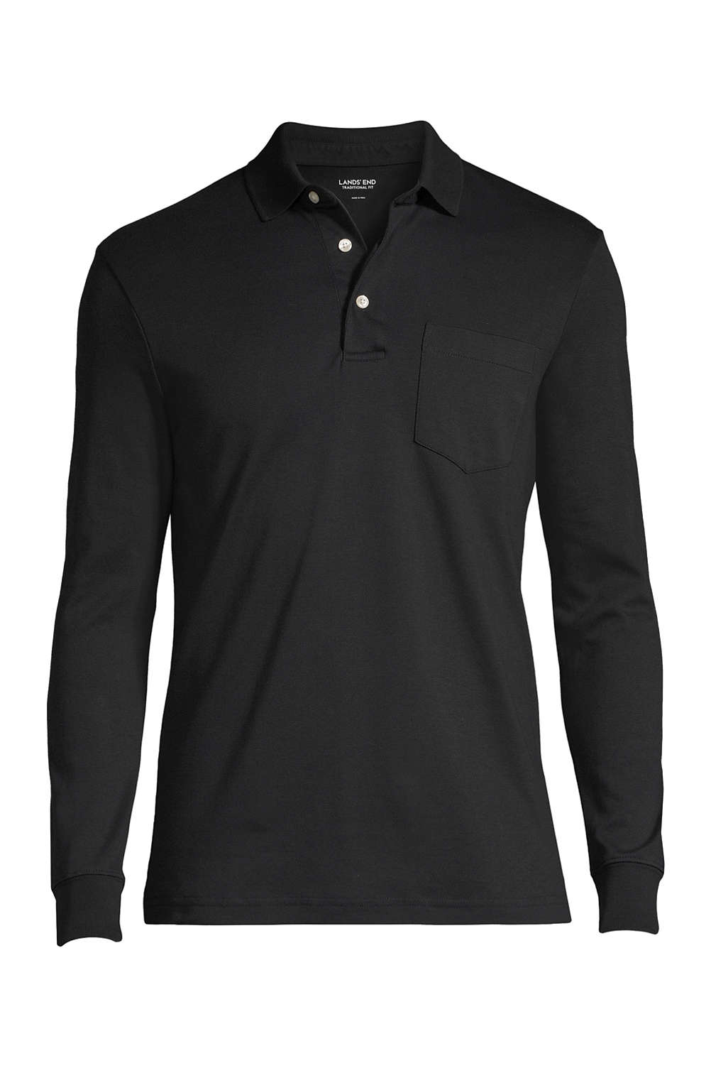 3ca22efc Men's Supima Long Sleeve Polo Shirt with Pocket from Lands' End