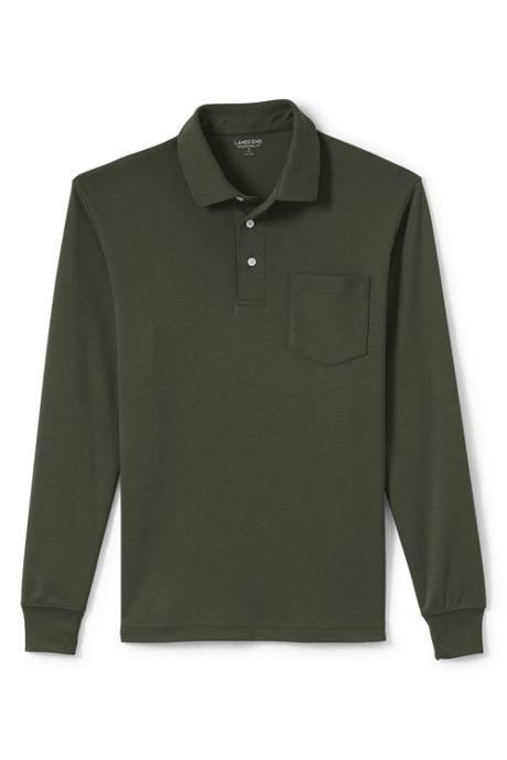 Men's Tall Long Sleeve Super Soft Supima Polo Shirt with Pocket
