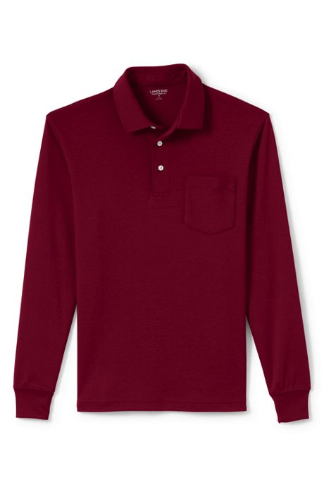 Men's Tall Supima Long Sleeve Polo Shirt with Pocket