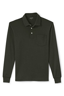 Men's Long Sleeve Traditional Fit Supima Polo Shirt with Pocket