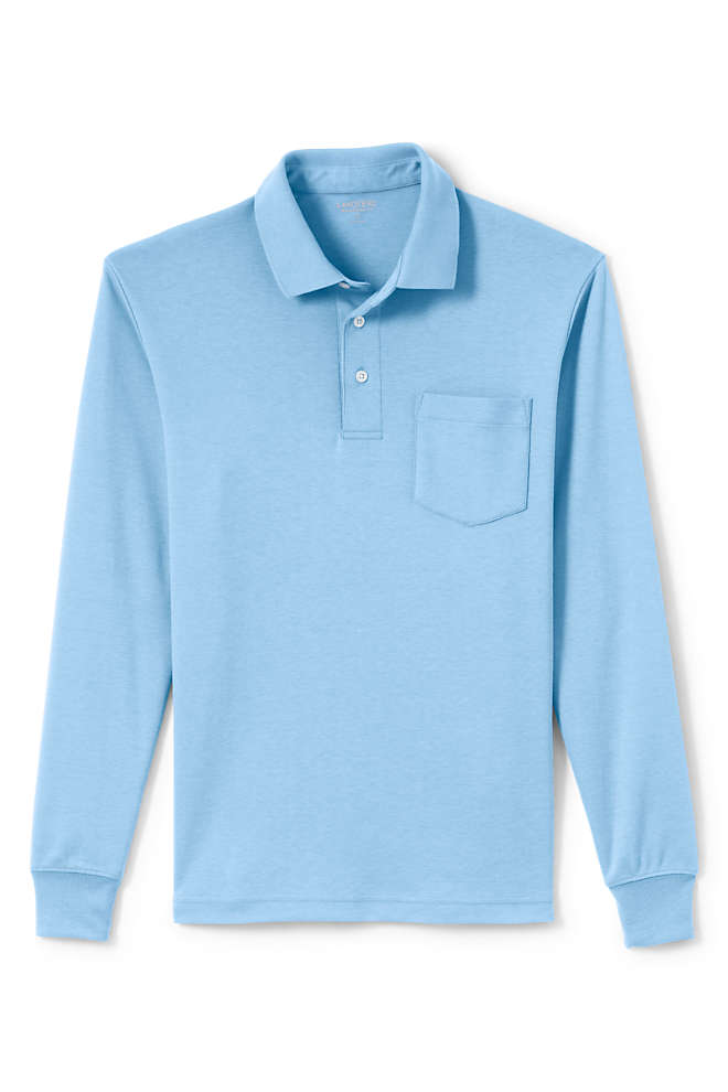 Men's Tall Long Sleeve Super Soft Supima Polo Shirt with Pocket, Front