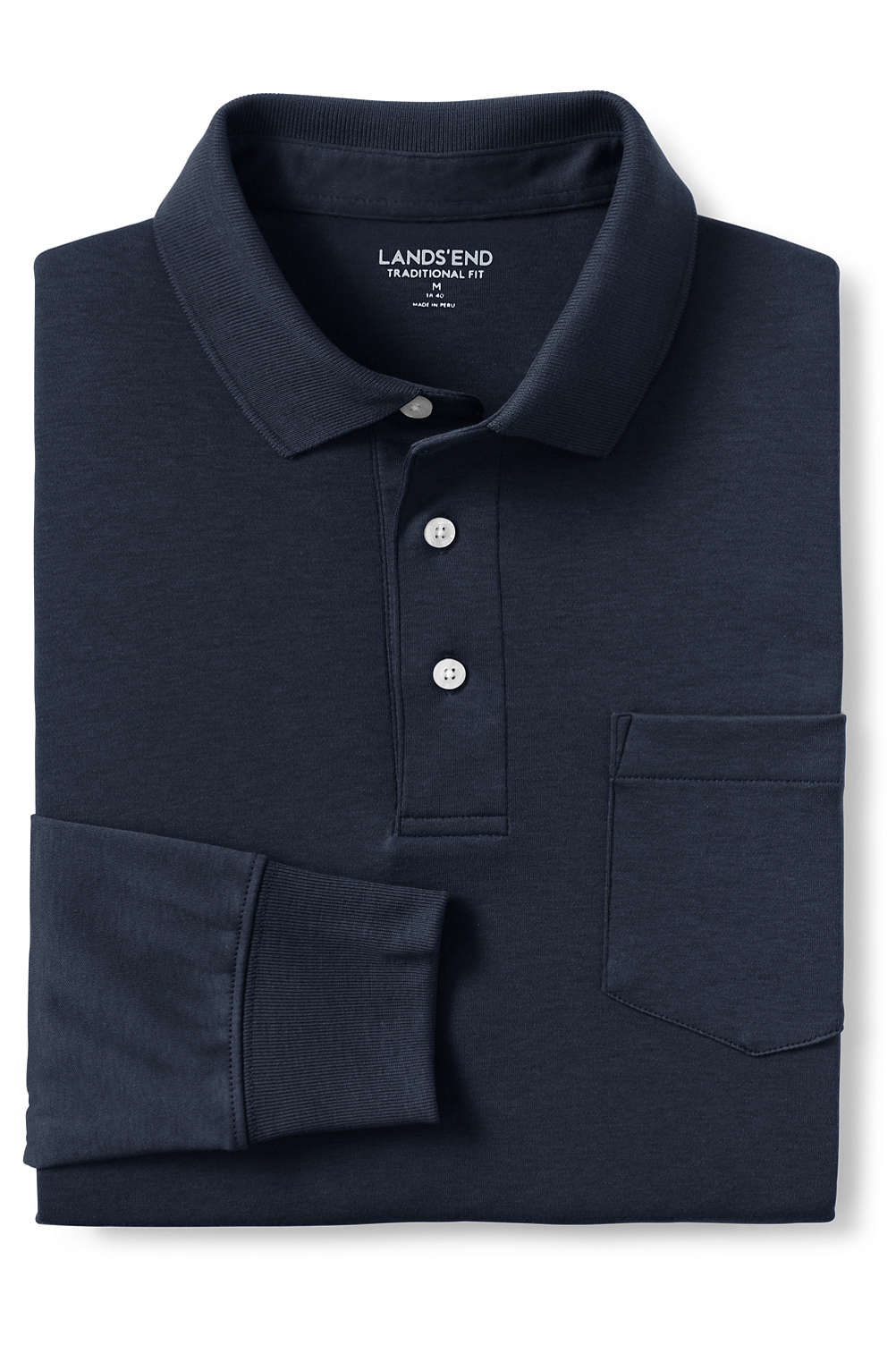 Mens Supima Long Sleeve Polo Shirt With Pocket From Lands End
