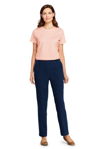 Women's Petite Sport Knit Denim High Rise Elastic Waist Pull On Pants