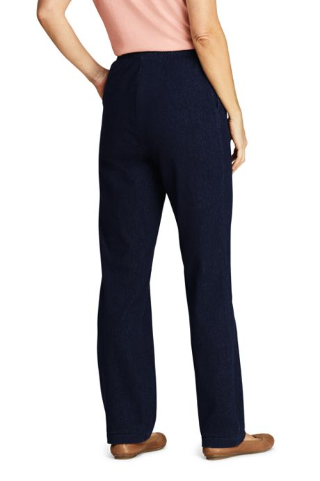 Women's Sport Knit Denim High Rise Elastic Waist Pull On Pants
