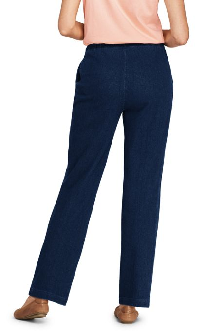 Women's Tall Sport Knit Denim High Rise Elastic Waist Pull On Pants