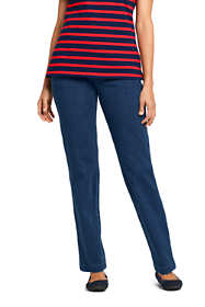 Women's Petite Sport Knit Elastic Waist Pants High Rise Denim