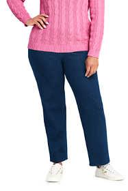 Women's Plus Size Petite Sport Knit Elastic Waist Pants High Rise Denim