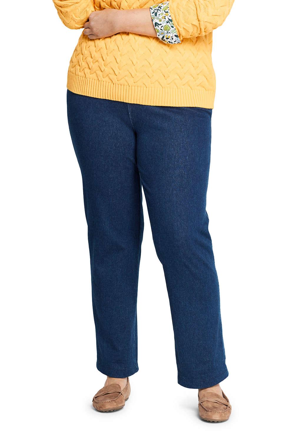 55460c3c7 Women's Plus Size Sport Knit Denim High Rise Elastic Waist Pull On ...