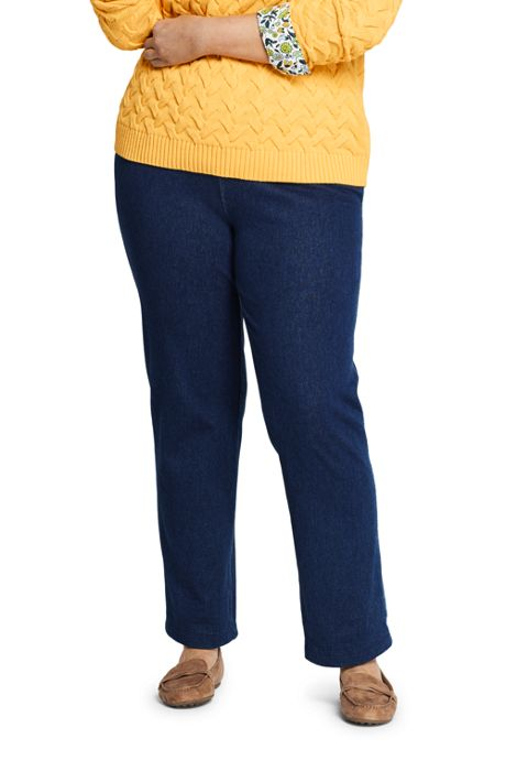 Women's Plus Size Petite Sport Knit Denim High Rise Elastic Waist Pull On Pants