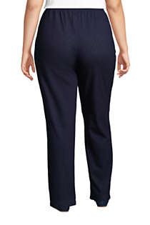 Women's Plus Size Sport Knit Denim High Rise Elastic Waist Pull On Pants , Back
