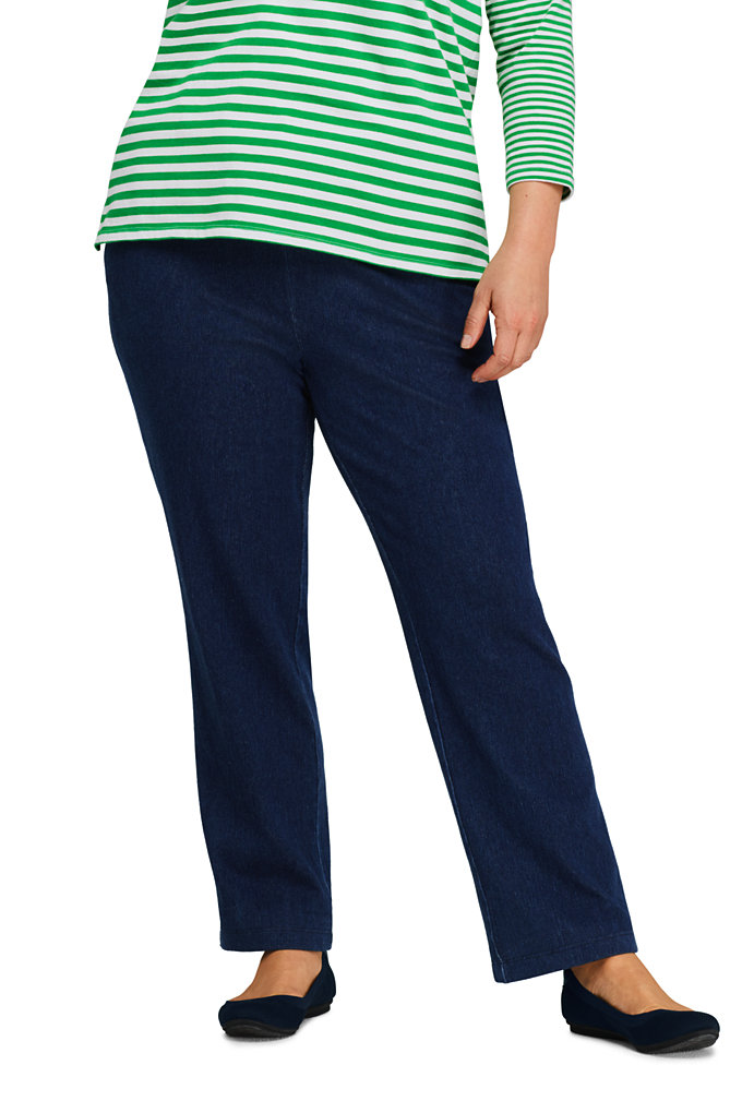 Women's Plus Size Sport Knit Elastic Waist Pants High Rise Denim