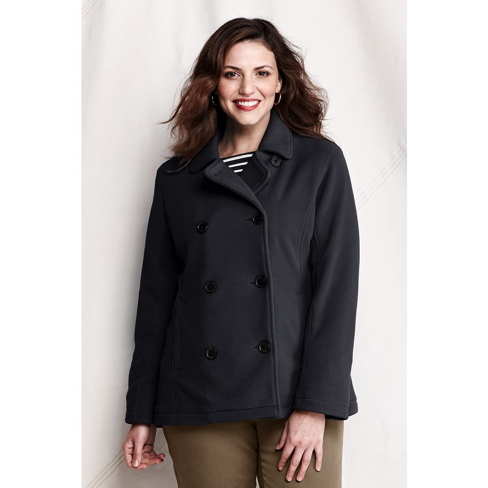 Lands' End Women's Plus Size Polartec Aircore 200 Pea Coat at Sears.com
