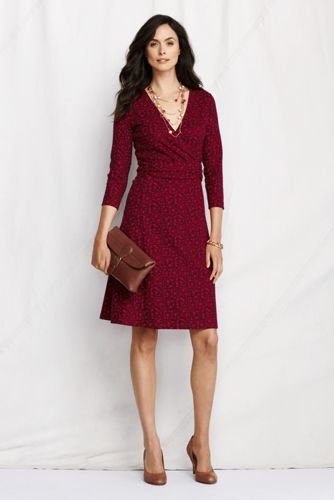 Women's Regular 3/4-sleeve Pattern Ponté Wrap Dress - Rich Cherry Print, M