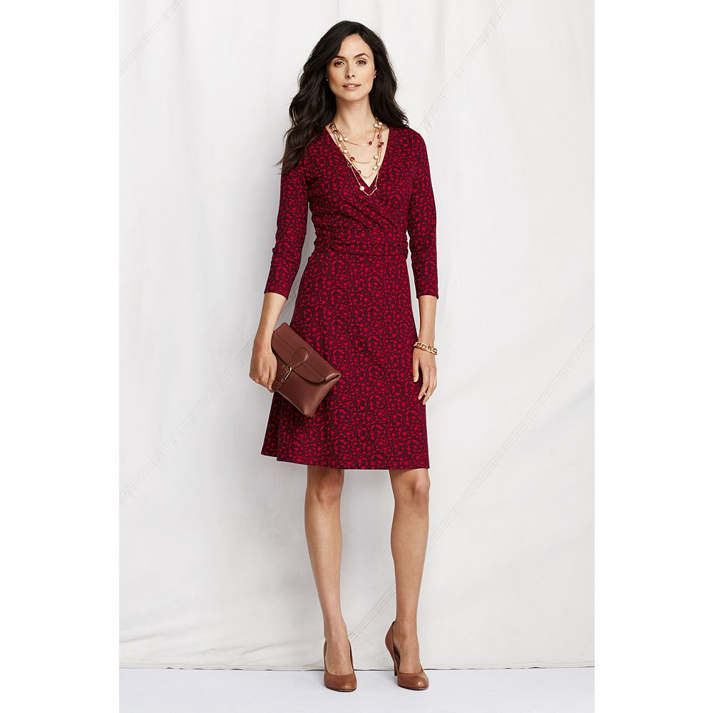 Lands' End Women's Petite 3/4-sleeve Pattern Ponte Wrap Dress at Sears.com