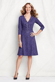 Women's Print Ponte Jersey Faux Wrap Dress