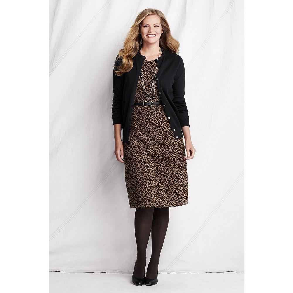 Lands' End Women's Plus Size Sleeveless Pattern Ponte Welt Pocket Dress at Sears.com