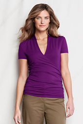 Women's Short Sleeve Lightweight Cotton Modal Crossover Top