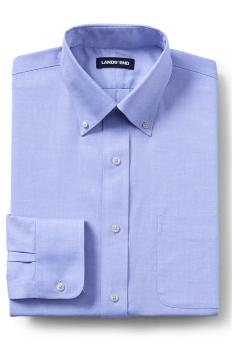 Men's Slim Fit Solid No Iron Supima Pinpoint Buttondown Collar Dress Shirt
