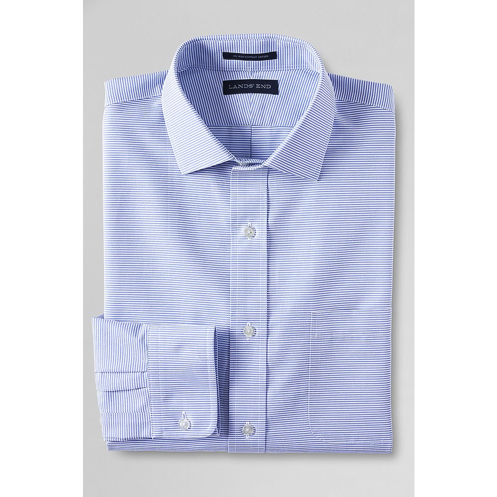 Lands' End Men's Slim Fit Spread Collar Pattern No Iron Pinpoint Dress Shirt at Sears.com