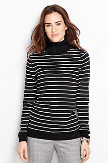 Women's Striped Fine Gauge Supima Roll Neck