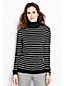 Women's Petite Striped Fine Gauge Supima Roll Neck