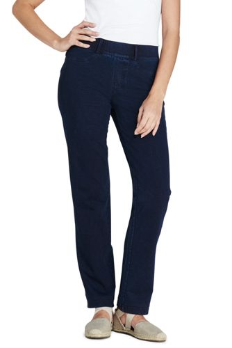 Womens Starfish Jean-style Refined Stretch Indigo Jersey Straight-leg Trousers - 8 - BLUE Lands End BO4sBn5