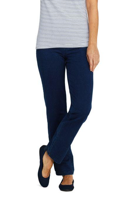 Women's Starfish Elastic Waist Knit Jeans Straight Leg Mid Rise