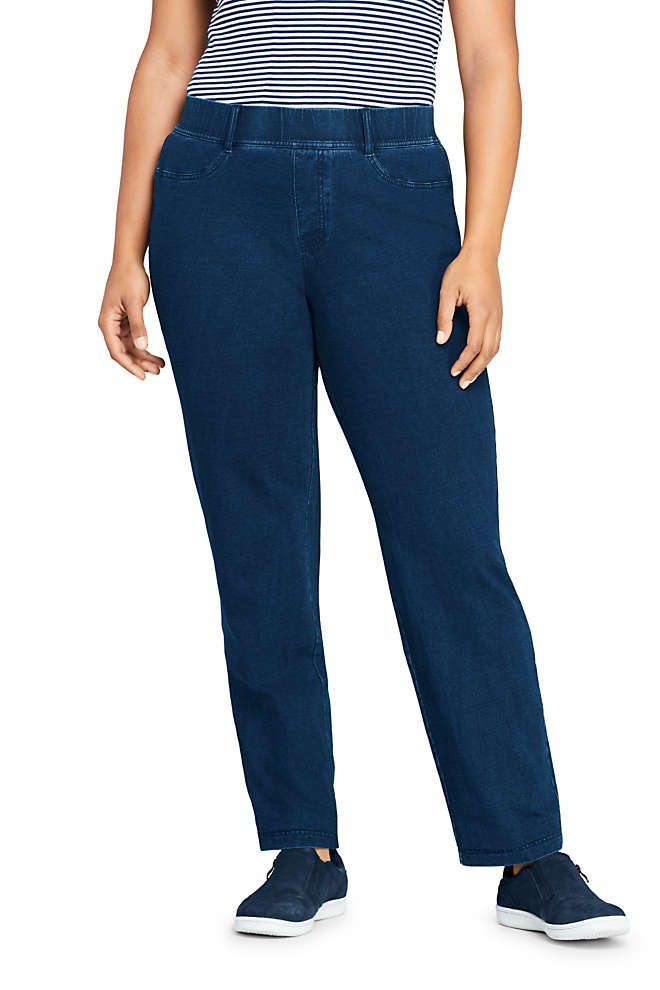 Women's Plus Size Starfish Elastic Waist Knit Jeans Straight Leg Mid Rise, Front