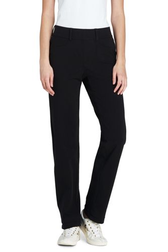 Womens Petite Starfish Stretch Jersey Slim Leg Trousers - 10 12 - BLACK Lands End