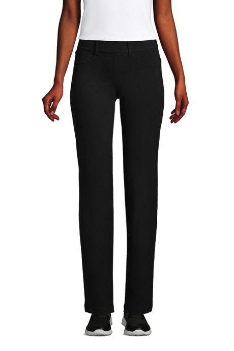 Women's Petite Starfish Elastic Waist Knit Jeans Straight Leg Mid Rise