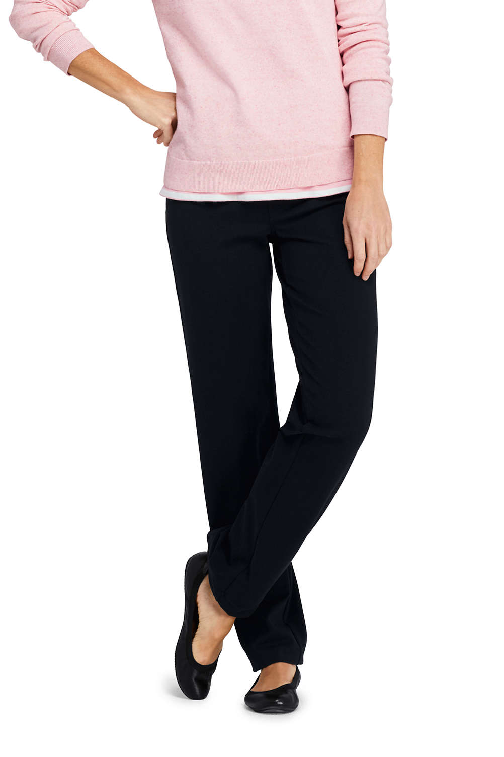 fed8ed464f9 Women s Starfish Elastic Waist Knit Jeans Straight Leg Mid Rise from Lands   End