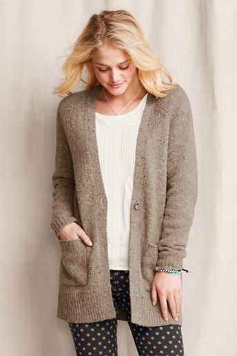 Women's Merino Blend Long Cardigan  - Beige Donegal