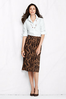 Women's Patterned Ponte Jersey A-line Skirt