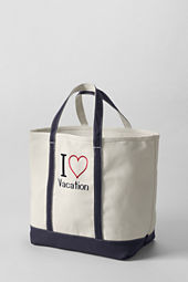 Large Natural I Heart Open Top Tote