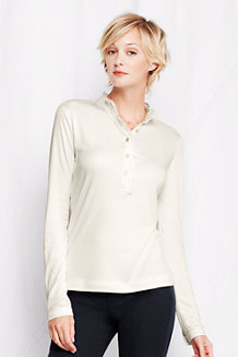 Women's Long Sleeve Ruffle Pima Polo