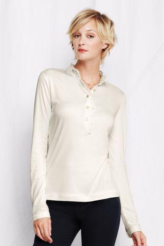 Rüschen-Poloshirt im Supima/Micromodal-Mix für Damen in Plusgröße