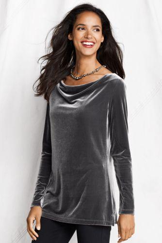 Women's Petite Velvet Drape Neck Tunic