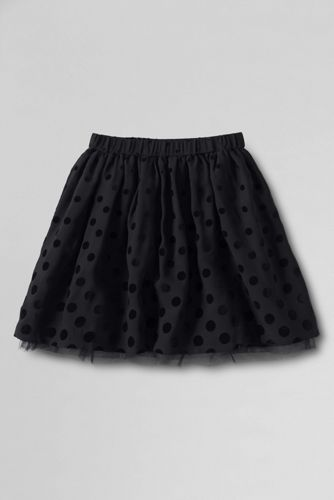 Little Girls' Flocked Dot Taffeta Skirt